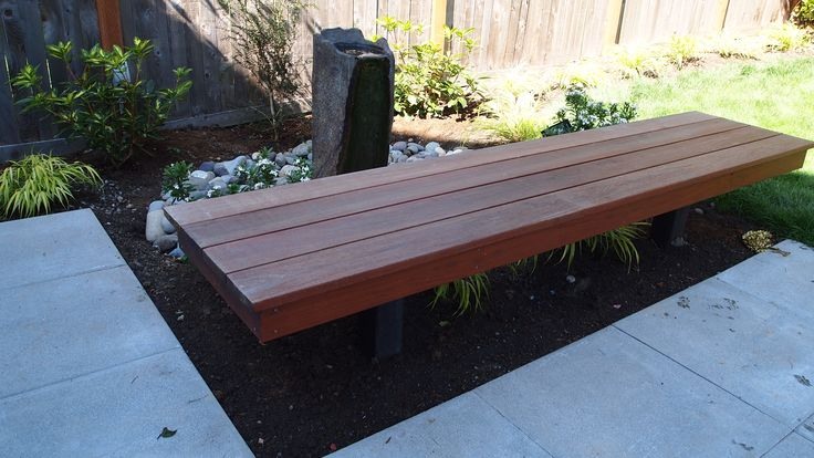 Built-in Ipe bench for patio seating,  Designed by Lisa Bauer, Chartreuse Landscape Design