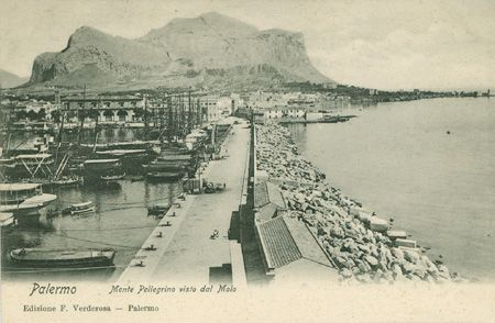 Palermo, Monte Pellegrino visto dal Molo, Edizione Francesco Verderosa - Palermo, Paul Trabert - Firenze-Lipsia