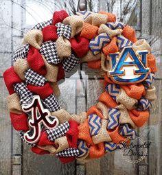 Burlap House Divided Wreath, Alabama University and Auburn University Wreath, Bama War Eagles Tigers Wreath