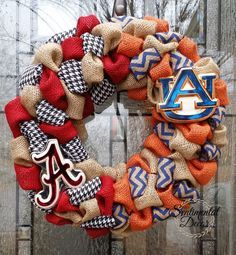 Burlap House Divided Wreath, Alabama University and Auburn University Wreath, Bama War Eagles Tigers Wreath