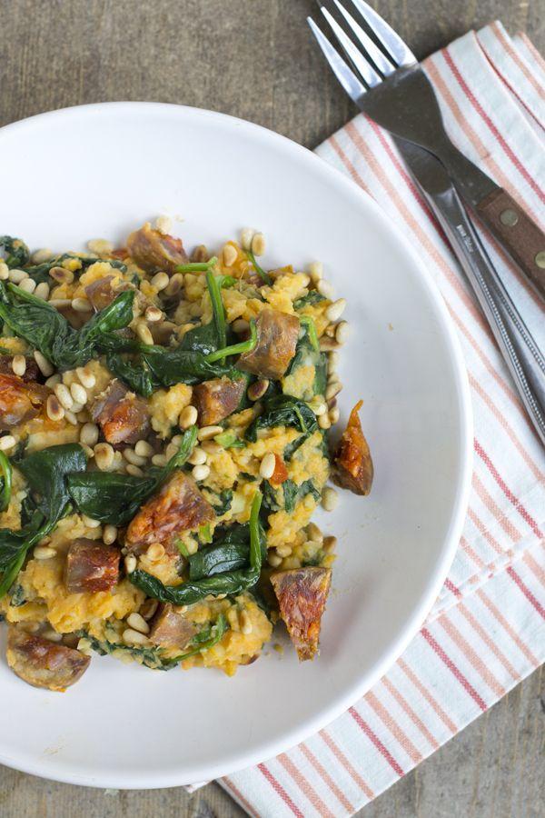 Zoete aardappel stamppot met spinazie en chorizo