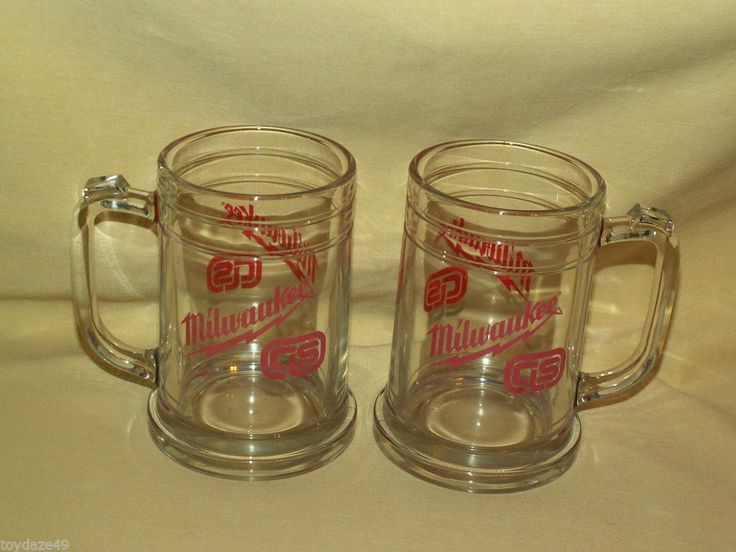 Milwaukee Tools Cls Glass Beer Mug Cup Stein Set 2 Bar