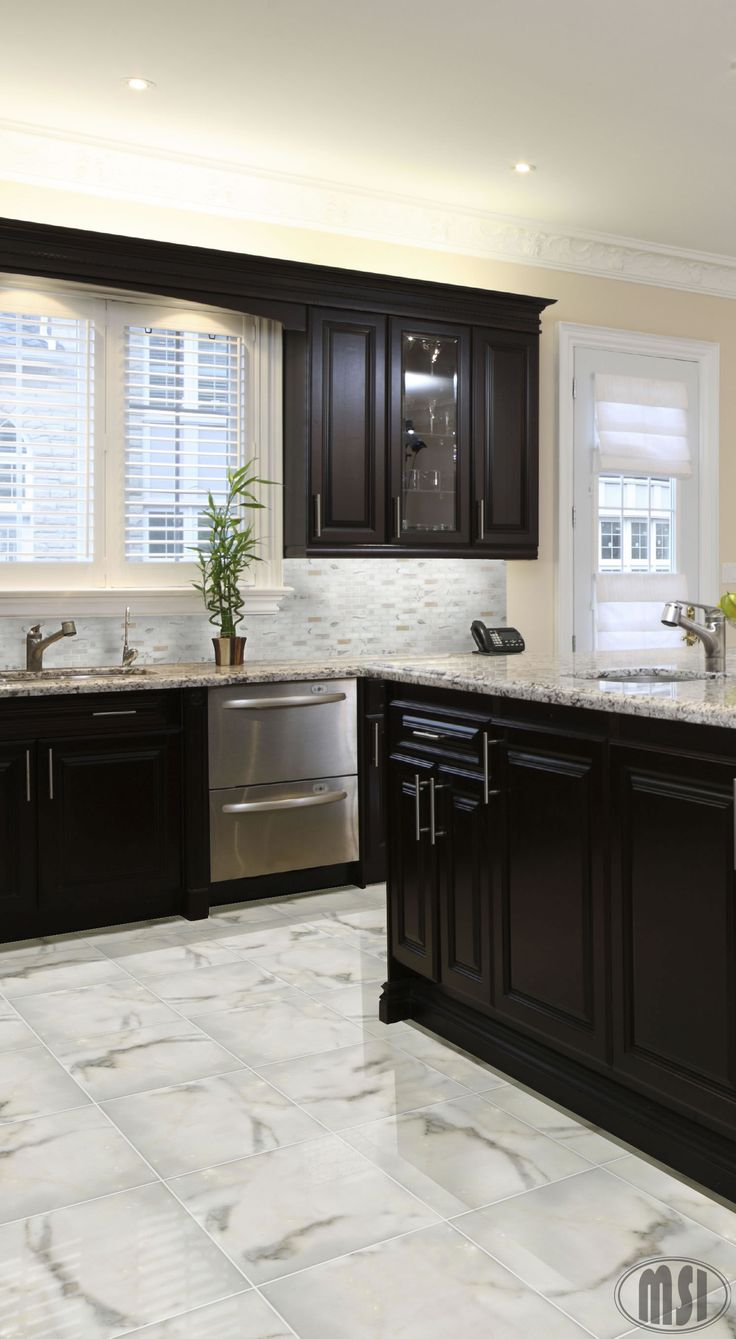 Find This Pin And More On Backsplash 9 2016 By Wisconsinbrooks. Moon White  Granite, Dark Kitchen Cabinets ...