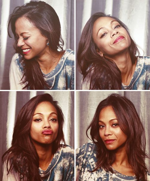 Zoe Saldana; i hate that she is so serious all the time.  Look at what we are missing out on