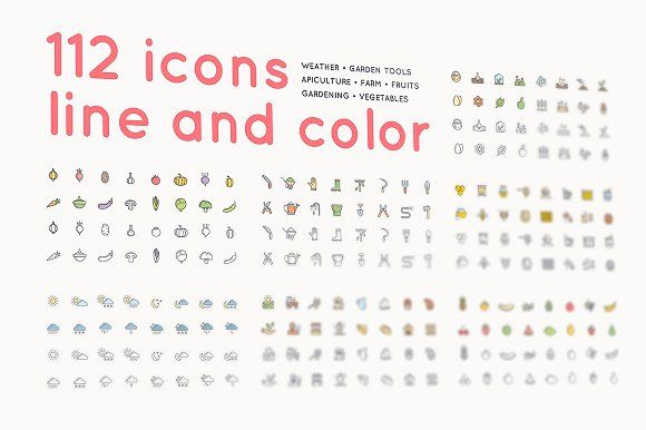 112 icons /farm/gardening/apiculture by alekseiderin on @creativemarket