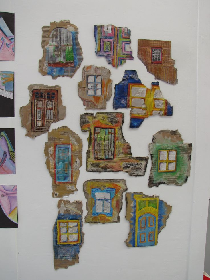 Year 9 Urban Decay project. Based on the work of artist Ian Murphy, students drew old doors and windows onto a mixed media torn cardboard surface using oil pastels. Exhibited at the Best of Bolton show.