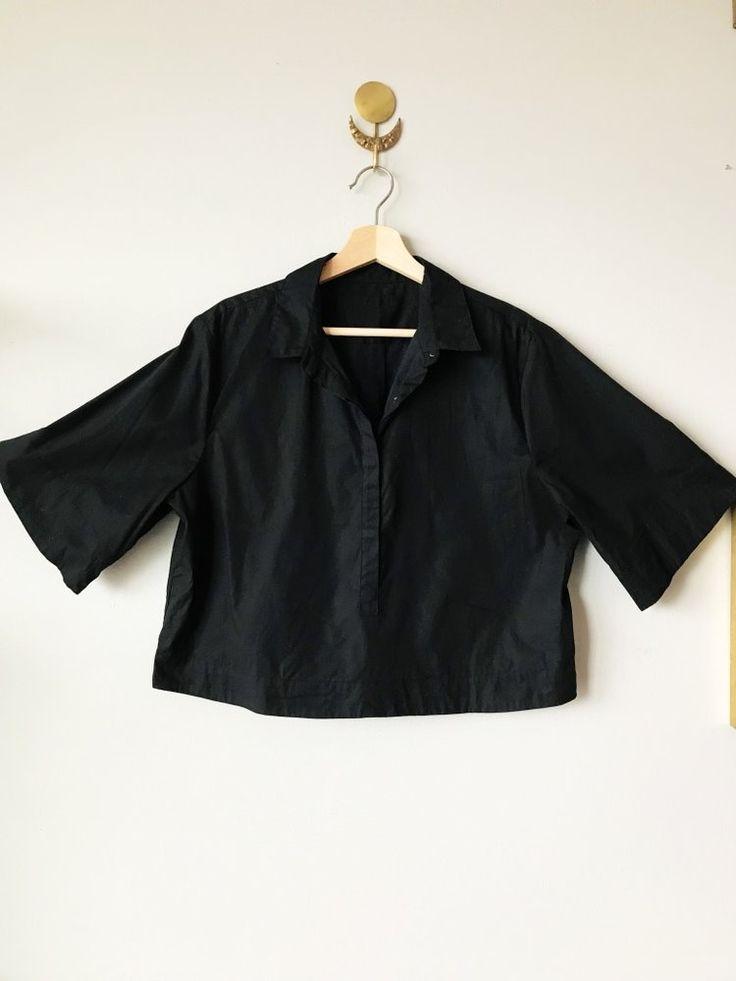 Cropped Black Cotton Poplin Shirt