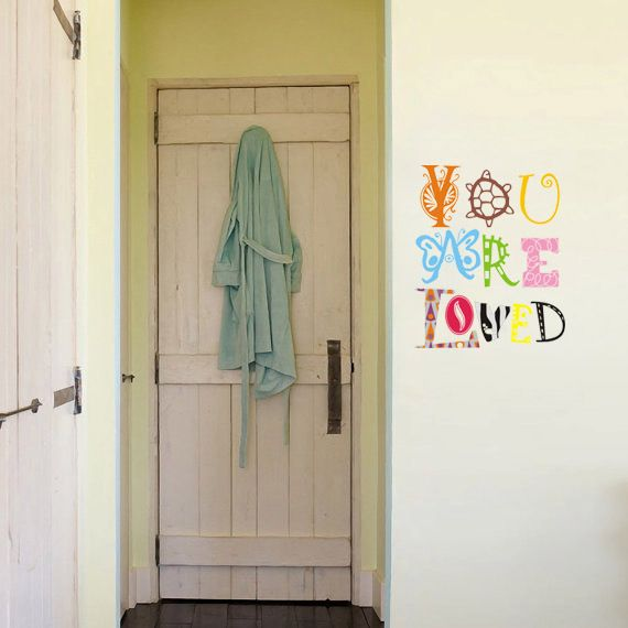 """Whimsical Wall Stickers - You are loved (Decal), $9.95 (http://www.whimsicalwallstickers.com.au/you-are-loved/)  Are fun designed quote that will hopefully inspire   """"You are loved""""    Contents:  sticker parts and transfer paper  Size: when installed: 40 cm x 50 cm (estimated)   Material: Vinyl"""
