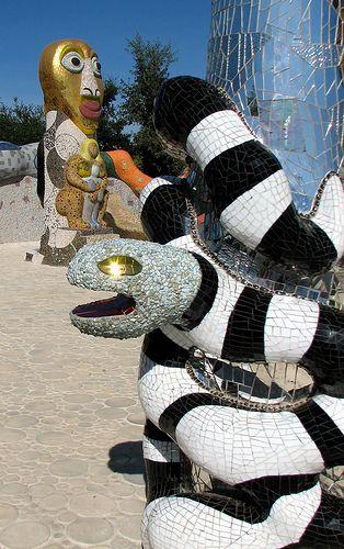 Sssssnake by Batty aka Photobat, via Flickr, (Queen Califia's Magical Circle Garden, by Niki de Saint Phalle, located in Escondido, California.)