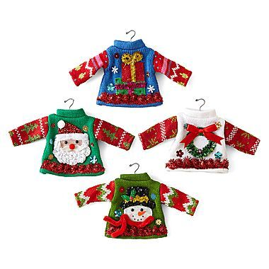 jcp | North Pole Trading Co. Set of 4 Ugly Knit Sweater Ornaments