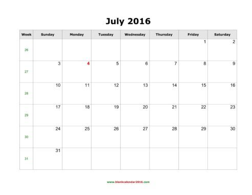 July 2016 Calendar Printable Pdf
