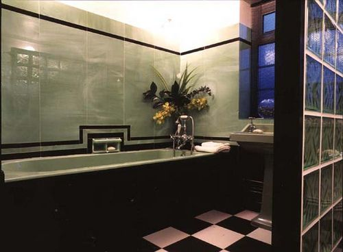 213 best art deco images on pinterest for Small art deco bathroom ideas