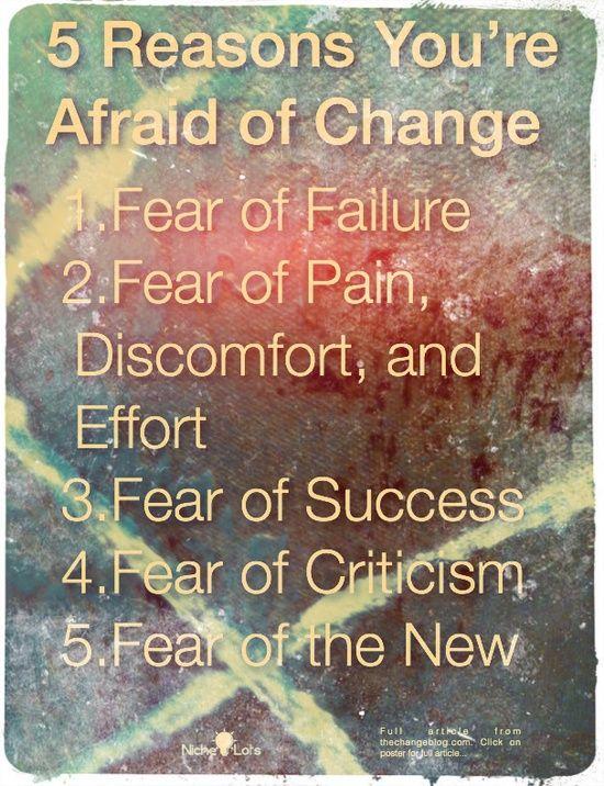 5 pilares de los temores al cambio: por miedo a fracasar, esforzarse o fallar, por miedo a tener éxito, a que te critiquen, o simplemente a Lo Nuevo y desconocido.