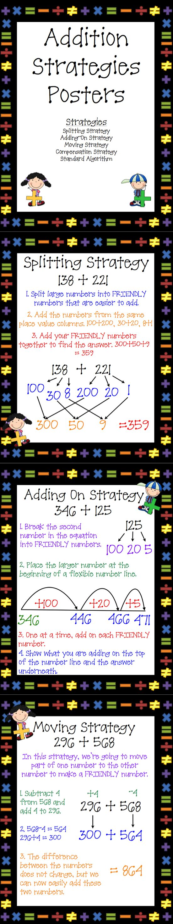 Use these 5 Step by Step Addition Strategies posters as Anchor Charts or notes for your students. Included in this set are: Splitting Strategy, Adding On Strategy, Moving Strategy, Compensation Strategy, and  Standard Algorithm