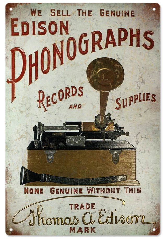 "Edison Phonographs Records and Supplies Advertisement Sign 12""x18"" .040 Aluminum Made In The USA. Nostalgic metal signs. Made in the USA, Quality Heavy Gauge Metal Sign, Vintage Sign, High Resolution Color Image."