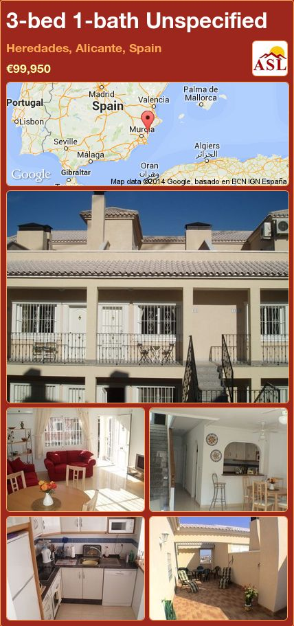 3-bed 1-bath Unspecified in Heredades, Alicante, Spain ►€99,950 #PropertyForSaleInSpain