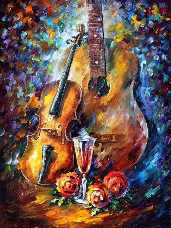 Guitar and Violin — PALETTE KNIFE Modern Instrumental Oil Painting On Canvas by AfremovArtStudio