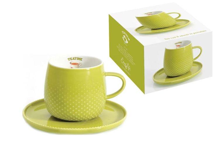 Чашка с блюдцем из фарфора «Капли дождя» (светло-зелёная)      Бренд: Easy Life (Nuova R2S) (Италия);   Страна производства: Китай;   Материал: фарфор;   Коллекция: Капли дождя;   Объем чашки: 270 мл;          #tea #porcelain #фарфор #посуда #чай