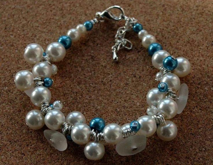 Seaglass cluster bracelet