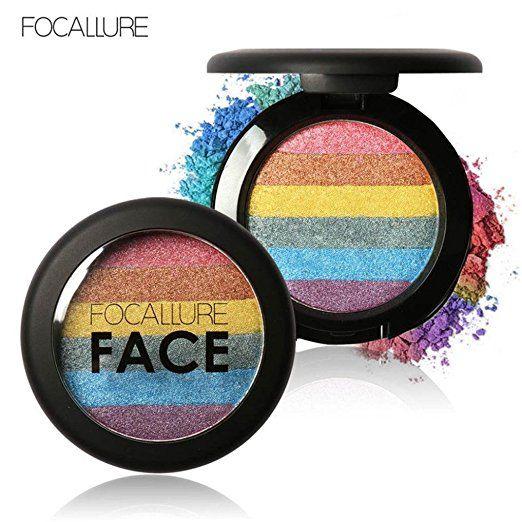 Kolylong Rainbow Highlight Eyeshadow Palette Baked Shimmer Color (B): Amazon.co.uk: Beauty