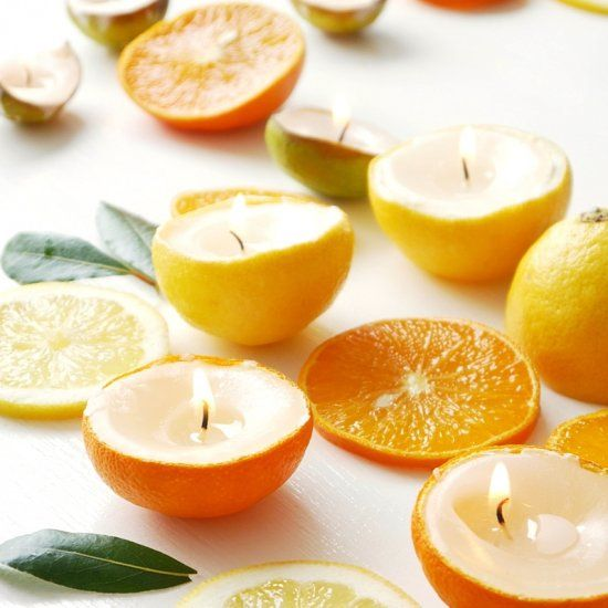 Learn to make these citrus candles using real fruit peel!