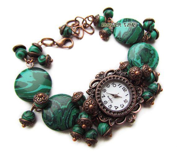 Woman wrist watch malachite bracelet watch ladies by FlowerWatch