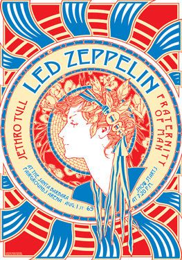 LED ZEPPELIN  - Jethro Tull - Fraternity of Man 1 August 1969 - Santa Barbara   - live show artistic concert poster  - manifesto artistico. €10.00, via Etsy.