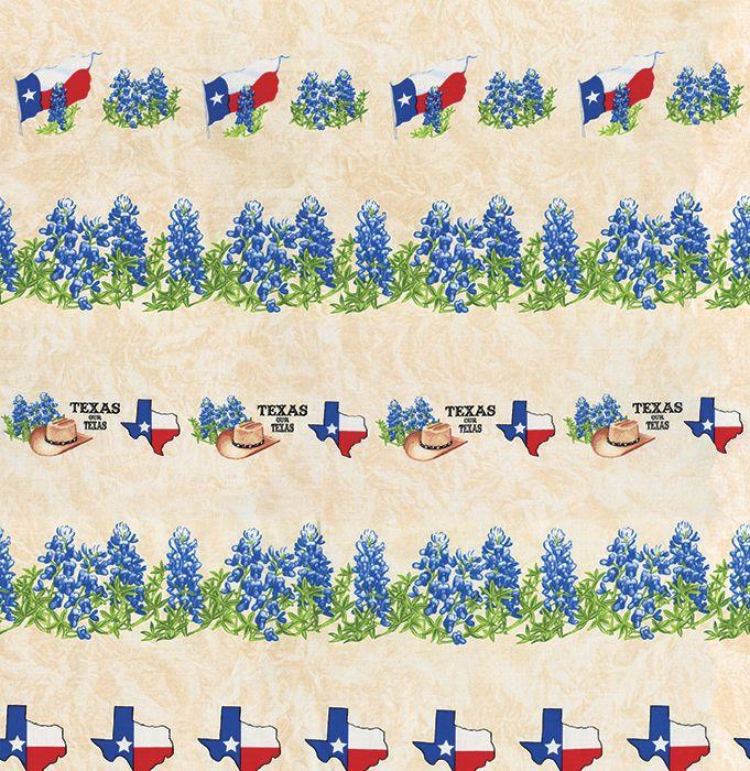 Texas Our Texas Moda by 1 2 yd Bluebonnet Cowboy Hat Border Print Cream 11271 11   eBay
