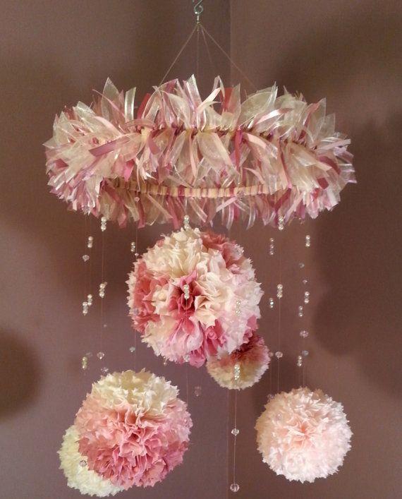 Hanging Decorative Mobile Of Pom Pom Paper Flowers