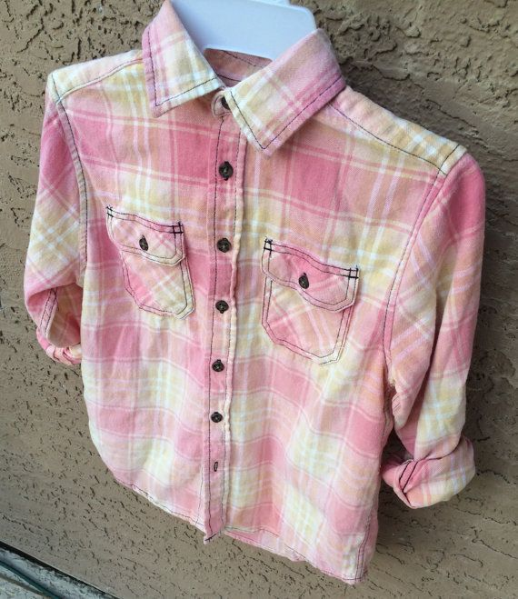 Childs Large Bleach Dyed Pink Flannel Shirt by EssentiallySavvy