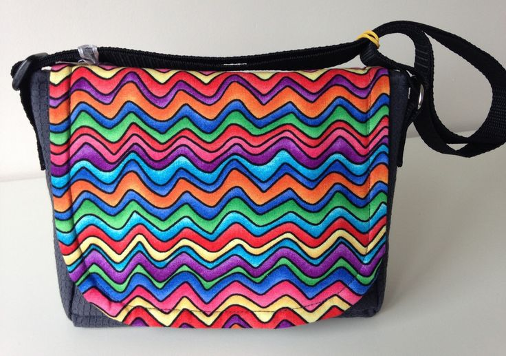 Girl's cross body bag, Child's cross body bag, Girl's messenger bag, Grey messenger bag, Multi coloured shoulder bag, Zig zag messenger - pinned by pin4etsy.com