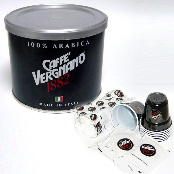 CAFFE VERGNANO g.125 ARABICA + KIT ( 50 PALETTINE ZUCCHERO BICCHIERINI ) OMAGGIO