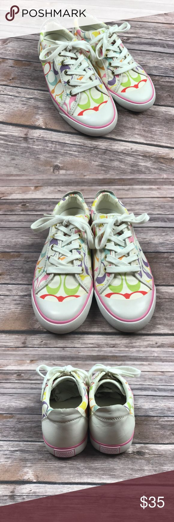 🌈 White and Rainbow Coach Tennis Shoes Size 7 -Coach Tennis Shoes Coach Shoes Sneakers