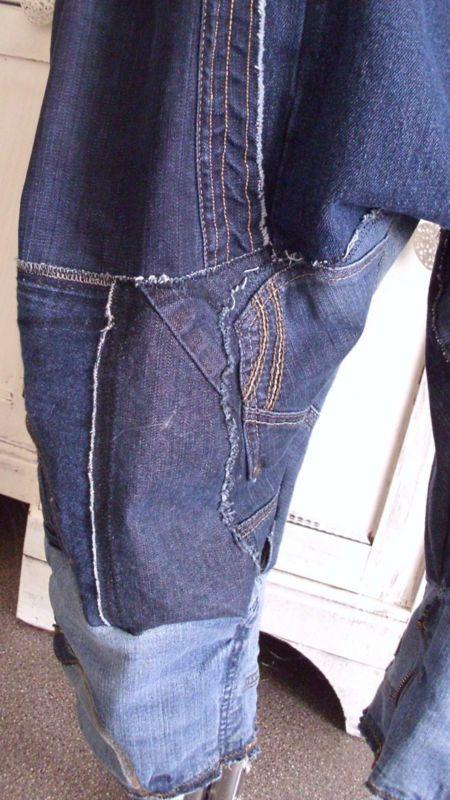 latzhose ♥haremshose ♥lagenlook ♥ rockabilly upcycling biker cool jeans patwork