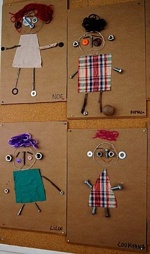 Self portraits with bits & pieces. I might try this with the kids when I go back to work....