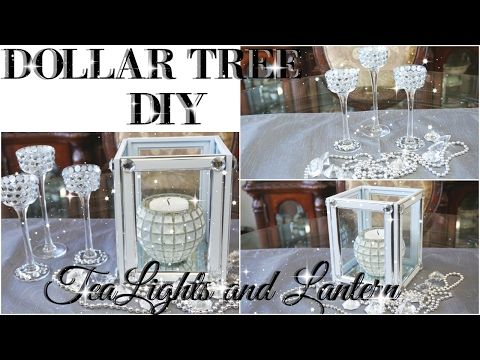 Diy dollar tree bling tealight holder and lantern decor for Bathroom decor dollar tree