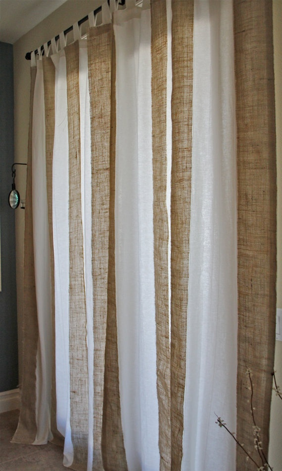 Burlap and twill curtains putting these in my bedroom - Cortinas de arpillera ...