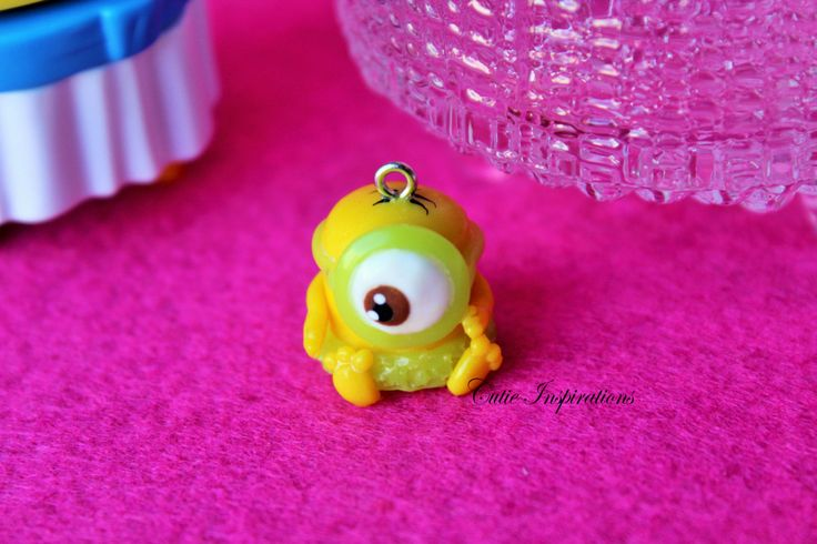 Hawaiian baby minion charm, polymer clay charm, polymer clay jewelry, kawaii charm, kawaii jewelry, cute charm, clay jewelry, fan art by CutieInspirations on Etsy
