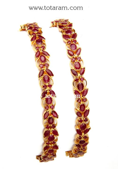 22K Gold Ruby Bangles - Set of 2(1 Pair). - GBL620 - Indian Jewelry Designs from Totaram Jewelers