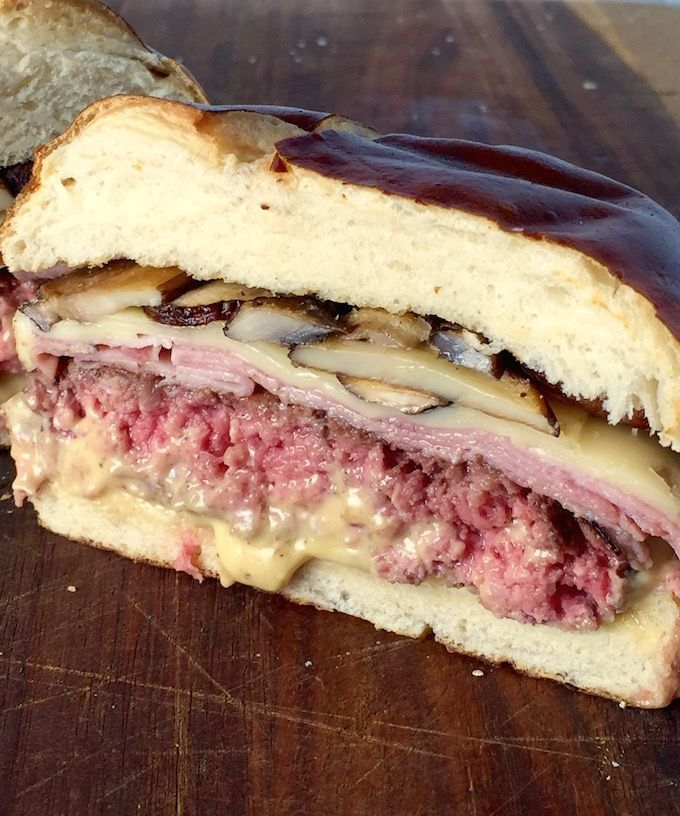 MHS Pretzel Burger - Sounds like an old timey sailing vessel, right? But, it's not. It's a Mushroom Ham & Swiss Pretzel Burger and the only sailing it should do is down your throat and into yobelly! - theoptimalistkitchen.com