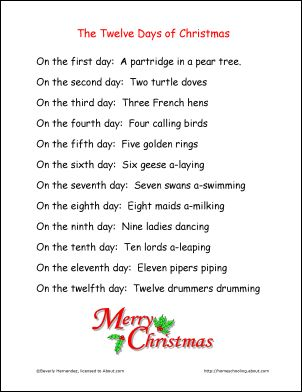 12 days of christmas for kids