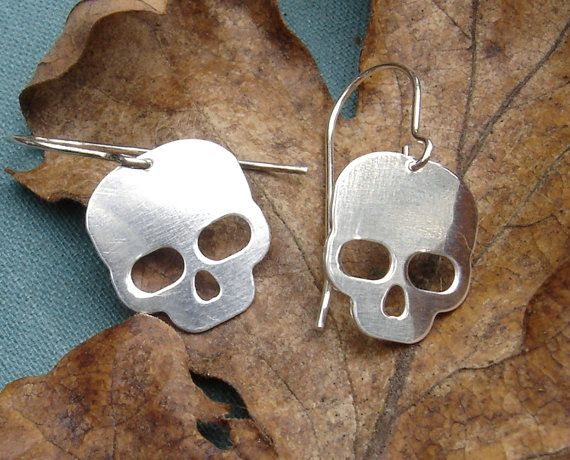 Feeling the Halloween vibe this time of year. Skull Earrings Skull Jewelry Sterling by nicholasandfelice, $20.00