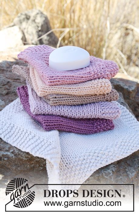 "Free pattern: Knitted DROPS wash cloth in ""Paris""."