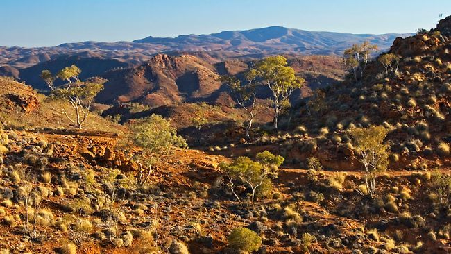 Arkaroola - the brochure said it was a sanctuary, but 42 deg C, 1 blown out tyre, showers that trickled, a pool with no water and a dust storm for breakfast had us packing up camp after one night...