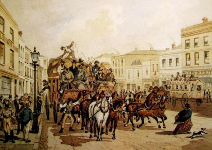 S.T.Gill: Cobb and Co. Coaches for Goldfields, Melbourne, 1805