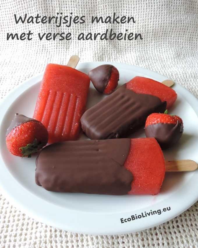 Gezonde fruit waterijsjes maken met aardbeien & chocoladelaag errond