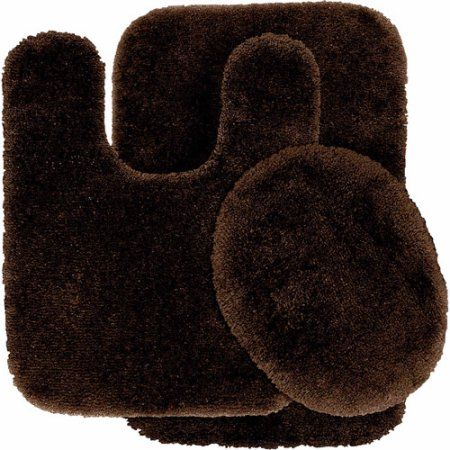 Finest Luxury Ultra Plush Nylon 3 Piece Washable Bathroom Rug Set, Brown