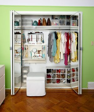 pretty genius use of space for a small closet. laptop work station hung from the wall as a vanity, seat either tucks in closet or used as additional seating in the room.   http://www.realsimple.com/home-organizing/organizing/closets/closet-design-00000000059731/page15.html
