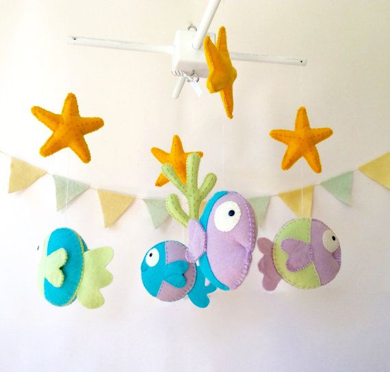 Sea nursery room - Nursery Mobile with fishes -  Baby Crib Mobile - nursery room  by LaPetiteMelina