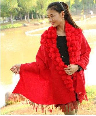 >> Click to Buy << new women's wool cashmere scarf  women fashion shawl with rabbit fur ball ladies scarves solid color with tassels #Affiliate